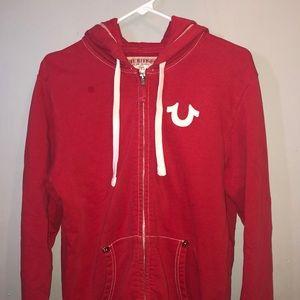 True religion red hoodie